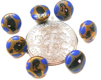 """1920s tiny buttons, 7 Mini metal Art Deco buttons with blue & black paint, doll size. 1/4""""."""