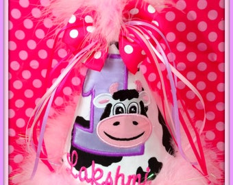 Cow Birthday Hat, Look Moo's Turning One,  Birthday Hat Boutique Quality,  First Birthday Hat, You Choose Colors, Gingham Bunny