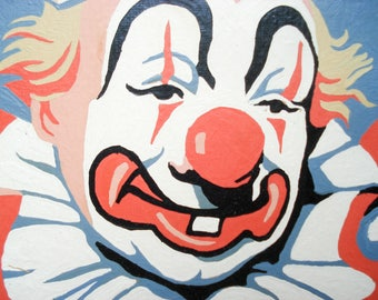 Vintage paint-by-number picture - clown - framed
