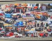 "Hot Rodding USA Classic Cars Buckets Roadsters 23""x44"" Panel QT Cotton Fabric"