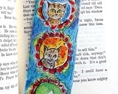 Two Cats Bookmark, Original Watercolor, Cat Lover Gifts, Book Lover Gift, Flower Bookmaerk, Hand Painte, Handmade Bookmark, Love Cat Artwork