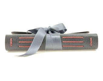 Leather Journal: Grey & Coral with Silk Ribbon and Mohawk Superfine paper. Made in England, ships worldwide. Feminine luxury style for Women