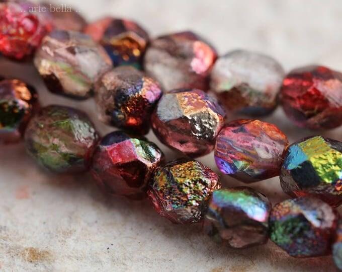 RASPBERRY PEBBLES .. 25 Premium Stone Picasso Czech Glass Beads 6mm (5954-st)