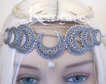 "Triple Goddess Circlet ""Belisama"" - Real Moonstone - Mother Goddess - Wicca - Triple Moon - Pagan - Tiara Diadem - Moon"