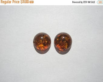 SUMMER SALE Genuine Baltic Cognac Amber 2.95ct (TCW) Cabochons - 10mm - pair