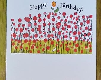 Stand Out, flowers, Happy Birthday,  Any Occasion Notecard, blank inside