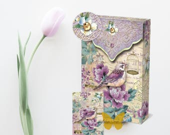 Lilac Bird Cage Decorative Pouch Notes