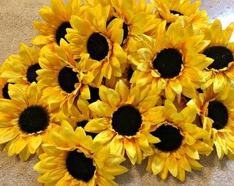 Sunflower - Silk Sunflowers - Artificial Sunflower - Hair Crafts - Headband Flower - Millinery Supply - Embellishment - Artificial Flowers
