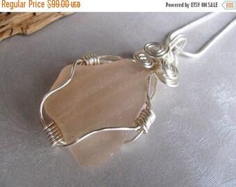 SEA GLASS SALE Wire Wrapped Rare Pink Sea Glass Statement Pendant  - Beach Glass Pendant - Sea Glass - Beach Glass Jewelry