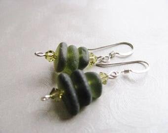 Olive Green Beach Glass Earrings - Sea Glass Earrings - Dangle Stacked Earrings - Authentic Genuine Sea Glass- Prince Edward Island Seaglass