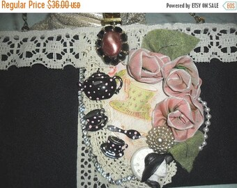 """36% OFF Closet Cleaning VINTAGE Handbag Altered Reworked Embellished """"Tea Time"""" theme. 1950's Adornments"""