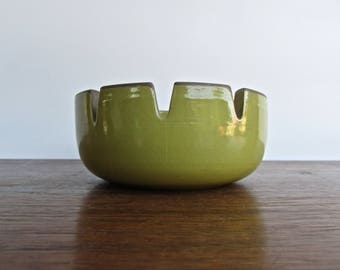 Edith Heath Pottery of California, Ashtray, Yellow & Sand, Heath Coupe Line, American Modern Design