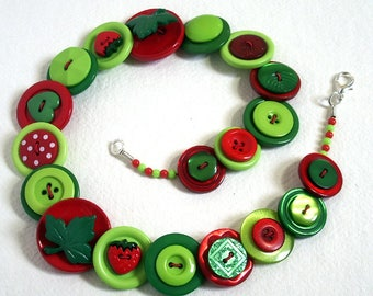 Strawberries  Green, Red and Lime button necklace Button Jewellery Button Jewelry UK Handmade