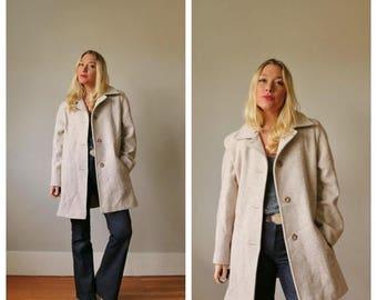 ANNIVERSARY SALE 1990s  Herringbone Wool Coat >>> Size Medium