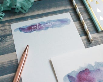 Watercolor Note Letter Writing Set | Writing Paper | Stationary Gift Set | Gift for Her | Tween Girl Gift | Stocking Stuffer | Snail Mail