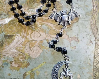 Bat Rosary with Black beads  and Crescent moon
