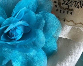 SILK ROSA , Rose Flower, Teal Blue  /  SR - 17