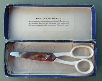 Vintage Pinking Shears - Philmerco No 408 B - Size 7 1/4 inches - Vintage Sewing Tools/Equipment