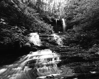 Landscape Photograph, Fine Art Print, Waterfall Photography, Waterfalls, black and white photography
