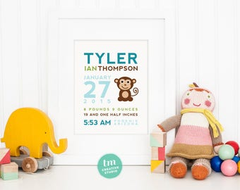 Custom Birth Announcement // Nursery Print // Modern Birth Stat Poster // Monkey Wall Art // Baby Boy // Baby Girl Nursery