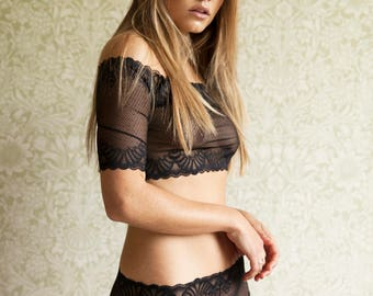 Lingerie set- black crop top & lace panty, lingerie, black embroidered mesh top, lace, see through top, erotic, sexy, bralette, transparent,