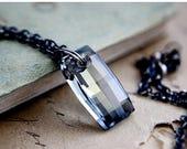 Summer Sale Crystal Necklace, Crystal Pendant, Swarovski Crystal, Pendant Necklace, Crystal Jewelry, Denim Blue, Pale Blue, Sterling Silver,