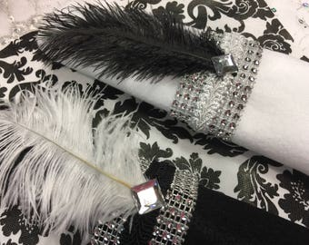 25 Great Gatsby Black and White Ostrich Feather and Bling Napkin Rings