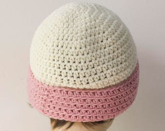 Pink and White Crochet Hat, Vegan Hat, Women's Winter Hat, Crocheted Beanie, Ready to Ship