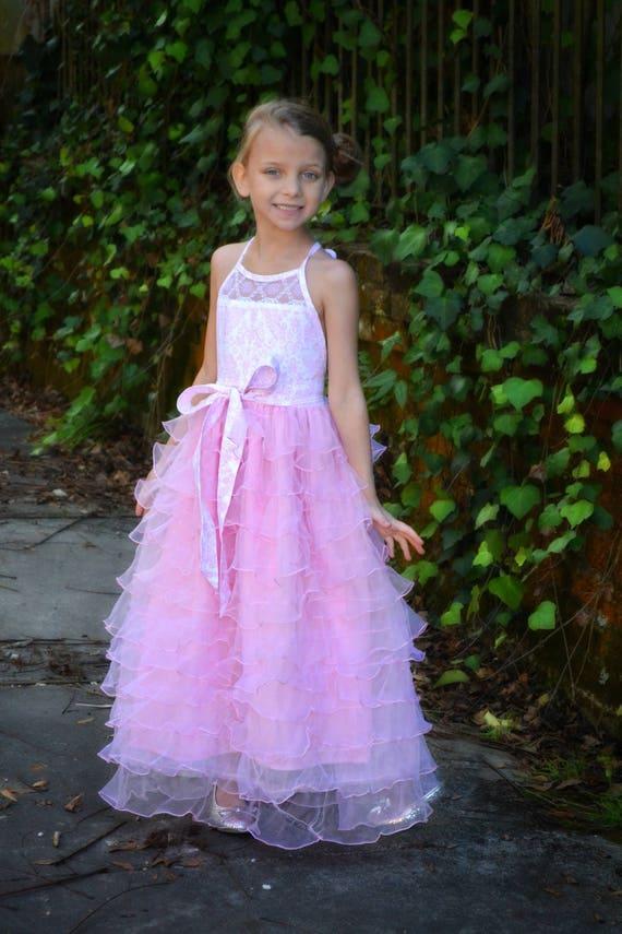 Girls Pink Halter Maxi - Pink Flower Girl Dress - Girls Pink Ruffled Maxi - Girls Formal Maxi - Girls Easter Dress