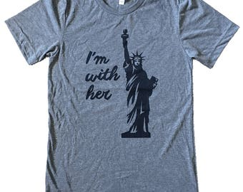 I'm With Her - Statue of Liberty Mens T-shirt -  (Available in sizes s, m, l, xl)