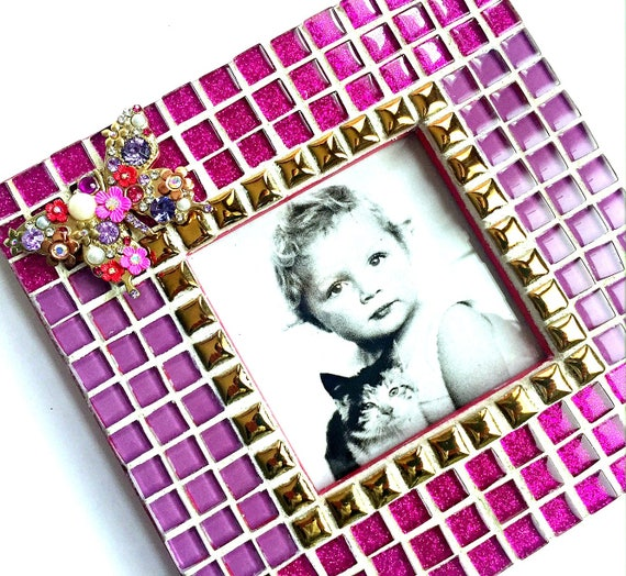 Butterfly Mosaic Frame, Hot Pink Butterfly Frame, Mosaic Frame, Glitter Mosaic Frame, Pink Purple Butterfly Frame,Mosaic Handmade Frame