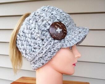 Gray Messy Bun Ponytail Newsboy Hat Ready to Ship