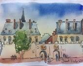 """Saint Malo - Gate St. Vincent; original watercolor 6""""x9"""" #3"""