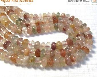 SALE 20% Off Natural Pink Rutilated Quartz Rondelle Beads 8mm, Pink Gold Green Rutilated Saucer Tourmalated Quartz Gemstone Beads