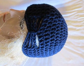 Navy Blue Butterfly Stitch Accent Beanie/Turban