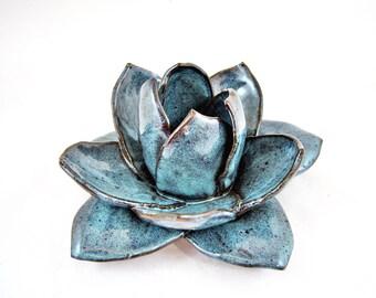 Large decorative ceramic flower, handmade pottery flower, yoga decor, home decor - In stock