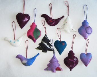 12 Felted Christmas Decorations 3 Trees 3 Baubles 3 Birds 3 Hearts