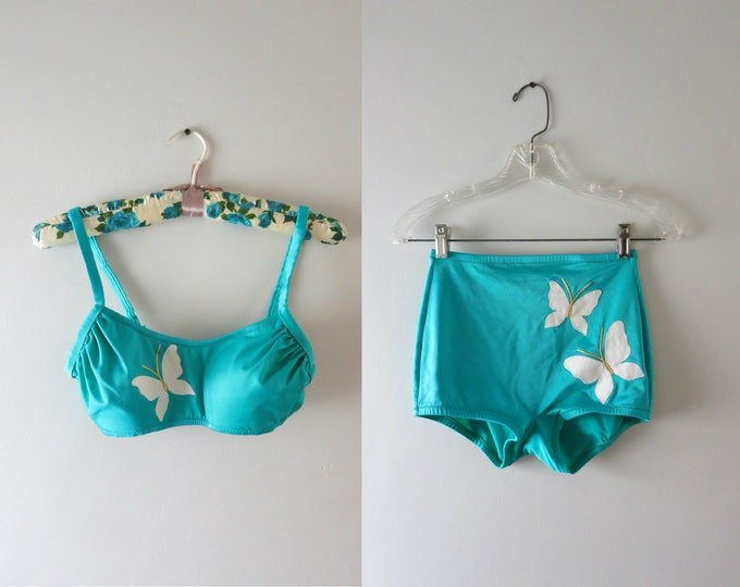 Vintage 60s Bikini | 1960s DeWeese Turquoise Butterfly Bikini | Mod Blue Butterfly Bikini Swimwear S