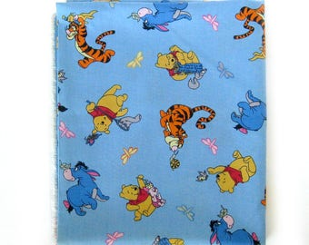 VINTAGE Disney Cotton Fabric  / Winnie The POOH and Friends Eeyore Tigger / Retro Yardage / Light Blue Fabric / Spring Industries