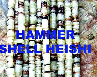 BEADS, SHELL, HAMMER Shell, Heishi, Rondelle, Sale, Purple, Cream,  24 inch, Disc, Strand, Beach, Tribal, Ethnic,