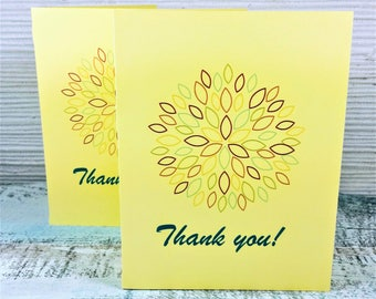 Thank you card, greeting cards, shower cards, wedding thank you card, thank you card set, thank you notes, dahlia card, yellow card