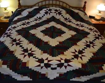 "Amish Sawtooth Log Cabin King quilt, 108"" x 114"""