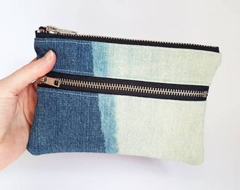 REPURPOSED Denim Pouch. Double Zipper Pouch. Bleached Denim. Upcycled Jean Pouch. Upcycled Leather. Ombre Denim. Ready To Ship.