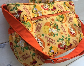 Lion King Handmade diaper bag, adjustable strap, elastic side pockets, disney, simba, baby, nappy, travel bag, maineteam