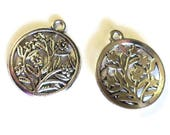 "2 Antique Silver Toned Round Floral Pendants, 1"" each, Single Sided, DIY Jewelry Supplies"