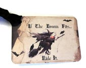 """8 Gift Tags, Halloween Tags, Black Tan, Witch on Broom, """"If the Broom Fits..."""",  Party Favor Tags, Merchandise Tags"""