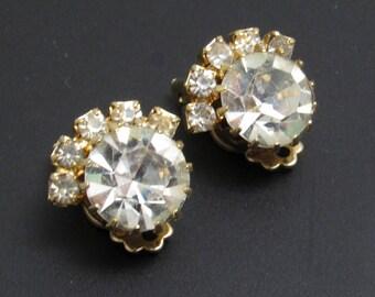 Vintage Rhinestone Button Earrings Clip On Jewelry E8055