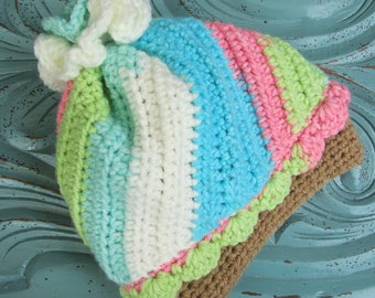 Ready to ship SALE - Girls crochet hat - cupcake hat - Toddler hat - Winter hat - kids hat  - Easter hat - baby girl hat