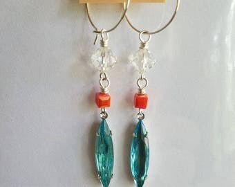50%OFF Crystal Earrings, Turquoise Blue, Coral Pink, Summer Earrings, Under 10