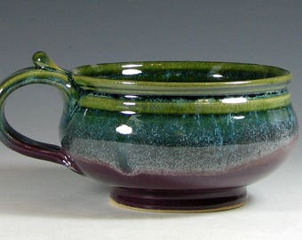 Made to order Chowder Crock, Soup bowl ceramic, French onion soup crock, cappuccino mug, glazed in purple green